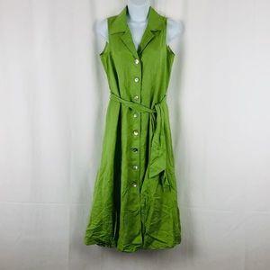 Coldwater Creek Linen blend button front dress 6P